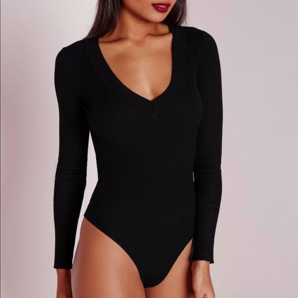 Missguided Tops - Black Missguided deep plunge bodysuit